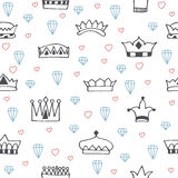 Vintage seamless pattern with hand drawn crowns, diamonds and he Stock Photography