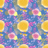 Vintage seamless pattern  hand drawn flowers Royalty Free Stock Image