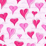 Seamless Pattern with  Hand Writing Text and Hearts Stock Photo