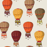 Vintage  seamless pattern of hot air balloons Stock Photos