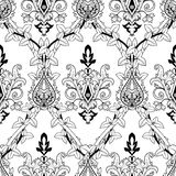 Vintage seamless pattern ivy and fire flower. Vector illustration Stock Photography
