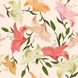 Vintage seamless pattern lily Stock Images