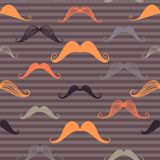 Vintage seamless pattern with mustache and stripes background. Retro style. Vector backdrop. Use for wallpaper, pattern fills, web page background Stock Photos