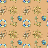 Vintage seamless pattern with nautical elements, isolated on brown background. Old binocular, lifebuoy, antique sailboat steering Stock Photo
