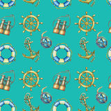 Vintage seamless pattern with nautical elements, isolated on turquoise background. Old binocular, lifebuoy, antique sailboat steer. Ing wheel, ship anchor Stock Images