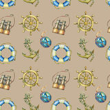 Vintage seamless pattern with nautical elements,  on sand color background. Old  binocular, lifebuoy, antique sailboat ste Royalty Free Stock Images
