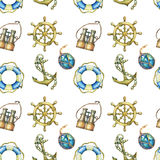Vintage seamless pattern with nautical elements,  on white background. Old sea binocular, lifebuoy, antique sailboat steer. Ing wheel, ship anchor. Watercolor Royalty Free Stock Photography