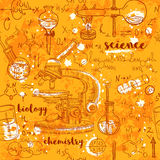 Vintage seamless pattern old chemistry laboratory with microscope, tubes and formulas on aged paper background. Stock Photo