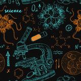 Vintage seamless pattern old chemistry laboratory with microscope, tubes, formulas, microbes and viruses. Stock Photo