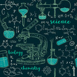 Vintage seamless pattern old chemistry laboratory with microscope, tubes and formulas. Royalty Free Stock Photo