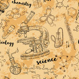 Vintage seamless pattern old chemistry laboratory with microscope, tubes and formulas. Vector retro hand drawn illustration in sketch style Royalty Free Stock Photo