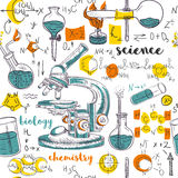 Vintage seamless pattern old chemistry laboratory with microscope, tubes and formulas. Stock Images