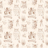 Vintage seamless pattern with Owls. Light background. Hand drawn Royalty Free Stock Images