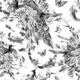 Vintage seamless pattern with pair of peacocks. Black and white vintage seamless pattern with pair of peacocks with watercolor roses, precious crystals Royalty Free Stock Photography