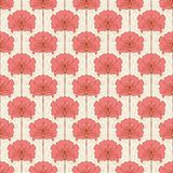 Vintage seamless pattern with pink flowers. Art nouveau style. V. Ector illustration.  Vintage Fabric, textile, wrapping paper, textiles, wallpaper. Retro hand Stock Images