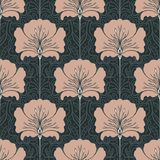 Vintage seamless pattern with pink flowers. Art nouveau style. V. Ector illustration.  Vintage Fabric, textile, wrapping paper, textiles, wallpaper. Retro hand Stock Image