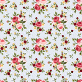 Vintage seamless pattern with pink roses on blue. Vector illustration. stock illustration