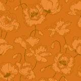 Vintage seamless pattern with poppy flowers Stock Photo