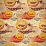 Vintage seamless pattern of pumpkins and a hand with a knife Royalty Free Stock Image
