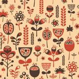Vintage seamless pattern with red and brown flowers. Royalty Free Stock Photography