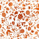 Vintage seamless pattern with red flowers on a white background Royalty Free Stock Photography