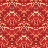 Vintage seamless pattern with red gemstones Royalty Free Stock Photography