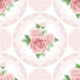 Vintage seamless pattern with roses Stock Photo