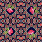 Vintage seamless pattern with roses on ornamental background.  Royalty Free Stock Photos