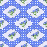 Vintage seamless pattern with roses and polka dots in blue tones. Royalty Free Stock Images