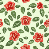 Vintage seamless pattern Roses (red with green).  EPS,JPG. Royalty Free Stock Photography