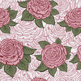 Vintage seamless pattern with roses. Retro hand drawn vector illustration. Stock Images