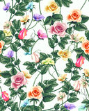 Vintage seamless pattern with roses . Vector illustration. Stock Photos