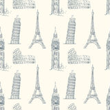 Vintage seamless pattern with sights of Europe Royalty Free Stock Image