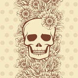 Vintage Seamless pattern with skull, vector Stock Photography