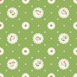 Vintage  seamless pattern with strawberries and polka dots Royalty Free Stock Photo