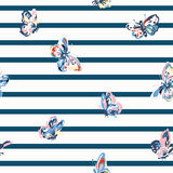 Vintage seamless pattern with stripes and butterflies. Vector vintage seamless pattern with stripes and butterflies Royalty Free Stock Image