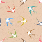 Vintage seamless pattern , Swallows in the clouds. Royalty Free Stock Images