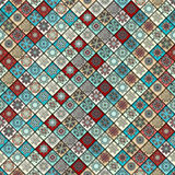 Vintage seamless pattern with tile patchwork elements. Royalty Free Stock Photo