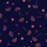 Vintage Seamless pattern vector  with red wind blow Dandelion fl. Owers Beautiful hand-drawn illustration on navy blue background for fashion fabric and all Stock Photos