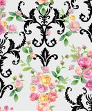 Vintage seamless pattern with watercolor roses and patterns for wallpaper. Vintage floral seamless pattern with watercolor roses and patterns for wallpaper vector illustration