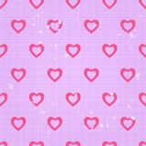 Vintage Seamless Pattern with White Lines and Pink Hearts Royalty Free Stock Images