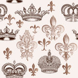 Vintage Seamless Pattern With Crowns And Fleur De Lis For Design Stock Image
