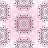 Vintage seamless pink pattern. Of a circular ornament with leaves and butterflies, vector Stock Images