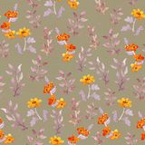 Vintage seamless primitive floral wallpaper. Cute flowers and leaves. Watercolour Royalty Free Stock Photo