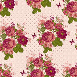 Vintage Seamless Roses Background with Butterflies Royalty Free Stock Images