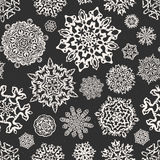 Vintage seamless snowflake chalk vectors. Template for christmas Royalty Free Stock Photography