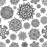 Vintage seamless snowflake vectors. Royalty Free Stock Images