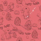 Vintage seamless texture with easter eggs. Stock Photos