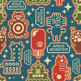Vintage seamless texture with monsters. Stock Photos