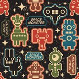 Vintage seamless texture with monsters. Royalty Free Stock Photos